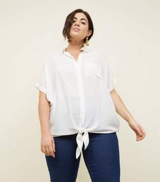 New Look Curves Off White Woven Tie Front Shirt