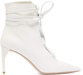 Miu Miu Lace Up Leather Ankle Boots - Womens - White