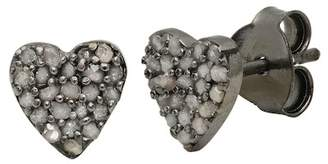 Best Silver Inc. Black Rhodium Plated Sterling Silver Pave Champagne Diamond Heart Stud Earrings - 0.32 ctw