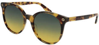 Gucci Round Gradient Acetate Sunglasses, Brown Havana