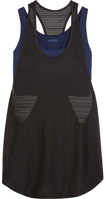 IVY PARK - Layered Ribbed Mesh And Stretch-jersey Tank - Navy $45 thestylecure.com