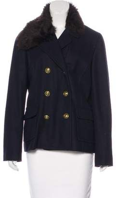 Tory Burch Fur-Trimmed Wool Coat