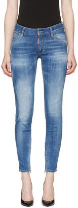 Dsquared2 Blue Medium Waist Skinny Jeans $560 thestylecure.com