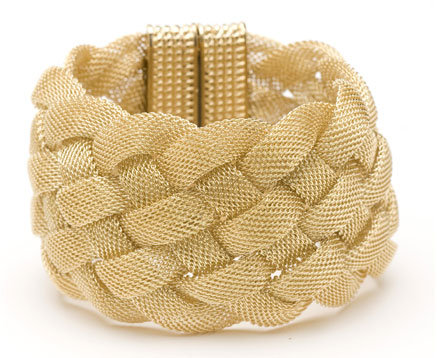 CC Skye Wide Mesh Bracelet in Gold or Oxidized Gold