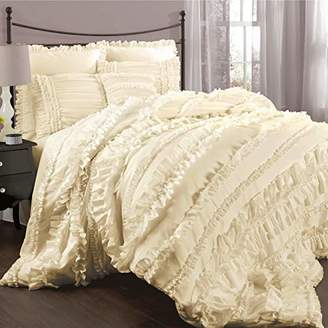 Lush Decor Belle 4 Piece Ruffled Shabby Chic Comforter Set with Bed Skirt and 2 Pillow Shams - Queen Comforter Set