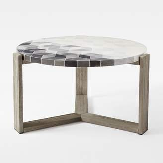 west elm Mosaic Tiled Outdoor Coffee Table - Isometric Concrete/Weathered Wood