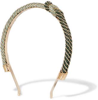 Incontro Cord And Gold-tone Headband - Green
