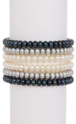 TARA Pearls Dyed 6-7mm Freshwater Pearl Stretch Bracelet Set