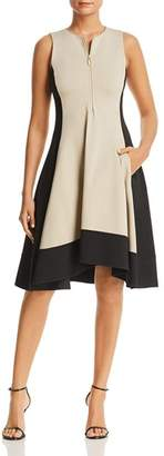 Donna Karan Color Block Zip Front Dress