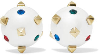 Valentino Globe Gold-tone, Crystal And Enamel Earrings - Ivory