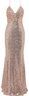 Badgley Mischka Wrap-Effect Sequined Mesh Gown