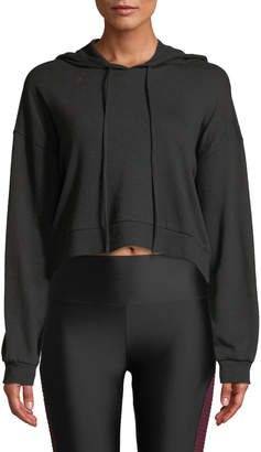 Lanston Snap-Sleeve Cropped Pullover Hoodie