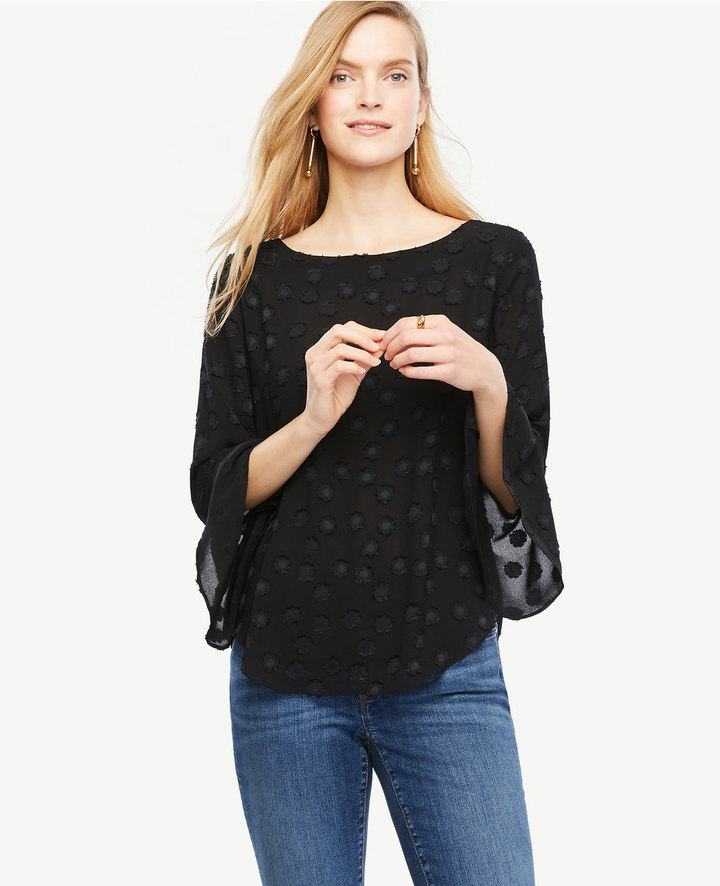 Ann Taylor Petite Clip Dot Fluted Sleeve Blouse