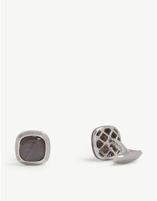 Tateossian Signature doublet square silver cufflinks
