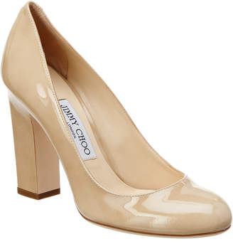 Jimmy Choo Billie 100 Patent Round-Toe Chunky Heel Pump