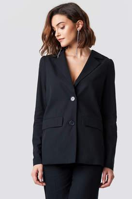 Na Kd Trend Oversized Puff Shoulder Blazer Black