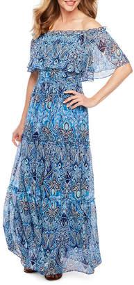 Rabbit Rabbit Rabbit DESIGN Design Off The Shoulder Damask Print Maxi Dress