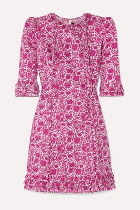 The Vampire's Wife The Mini Cate Ruffled Floral-print Cotton-poplin Dress - Fuchsia