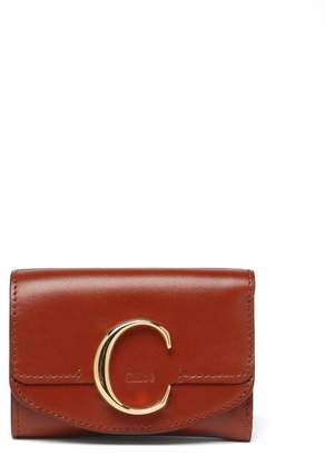 Chloé The C Logo Leather Wallet - Womens - Dark Brown