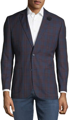 English Laundry Men's Plaid Comfort Stretch Sport Coat, Blue/Red