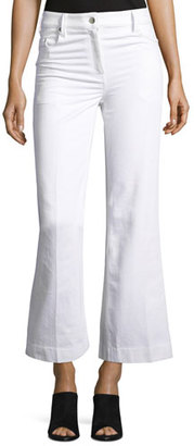 Calvin Klein Fray Bis Flared Cropped Jeans, White $595 thestylecure.com