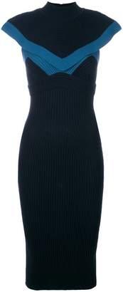Fendi colour-block fitted midi dress