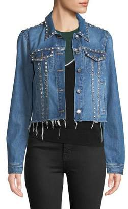 Veronica Beard Cara Cropped Jean Jacket with Rhinestones