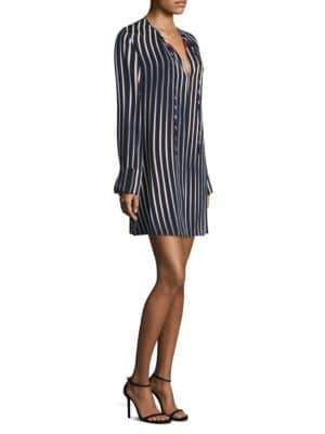 Diane von Furstenberg Stretch Silk Stripe Tunic Dress