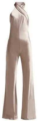Pandora Galvan Halter Neck Satin Jumpsuit - Womens - Silver