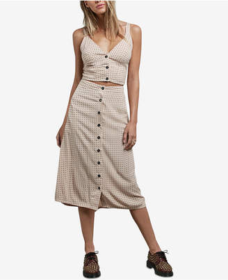 Volcom Juniors' Button-Down Midi Skirt