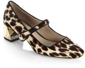 Tory Burch Marisa Leopard-Print Calf Hair Mary Jane Pumps