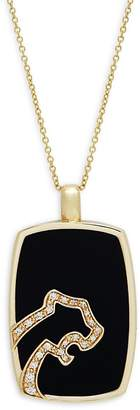 Effy Men's Diamond, Black Agate and 14K Yellow Gold Pendant Necklace