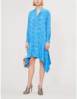 Mary Katrantzou Ladies Blue Hearts Printed Jacquard Shirt