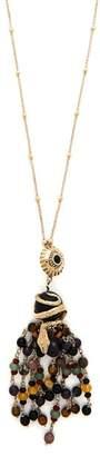 Etro Snake Beaded Tassel Pendant Necklace - Womens - Black