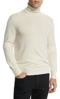 TOM FORD Classic Flat-Knit Cashmere Turtleneck Sweater, Ivory $1,290 thestylecure.com