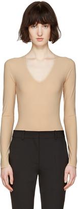 Maison Margiela Beige V-Neck Bodysuit $380 thestylecure.com