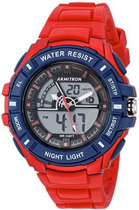 Armitron Sport Men's 20/5225RED Navy Blue Accented Analog-Digital Chronograph Red Silicone Strap Watch
