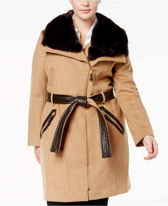 Via Spiga Plus Size Belted Faux-Fur-Collar Walker Coat
