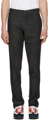 Thom Browne Black Denim Unconstructed Low-Rise Skinny Trousers