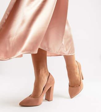 BEIGE Asos Design ASOS DESIGN Wide Fit Palmer pointed high heeled pumps in warm