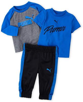 Puma Newborn Boys) 3-Piece Logo Tee & Pants Set
