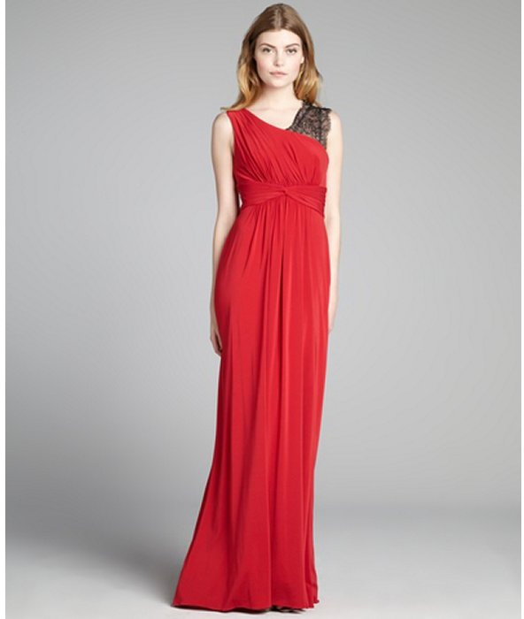 BCBGMAXAZRIA new red jersey knit lace shoulder 'Quenby' gown