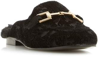 Dune Gole Metal Saddle Trim Backless Loafer Shoes