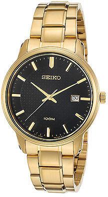 SeikoSeiko SUR200P1 Men's Neo Classic Gold-Tone SS Black Dial Gold-Tone SS