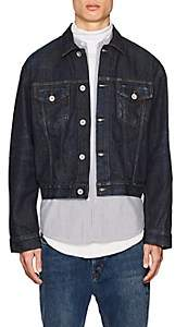 Taverniti So Ben Unravel Project Men's Denim Crop Trucker Jacket-Blue