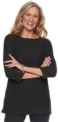 Dana Buchman Women's Button-Sleeve Jacquard Tunic