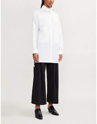 Isabel Benenato Collar-overlay relaxed-fit cotton shirt