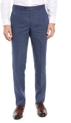 Nordstrom Flat Front Melange Linen Trousers