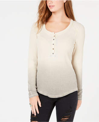 American Rag Juniors' Dip-Dyed Henley Top, Created for Macy's