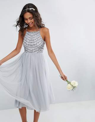 Asos Design Bridesmaid Delicate Beaded Strappy Back Midi Dress